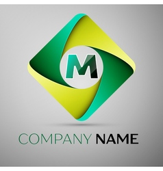 M letter colorful logo in the rhombus template for vector
