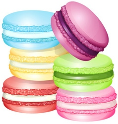 Macaron in different flavors vector image