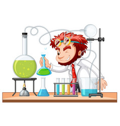 Mad scientist mixes chemical in lab vector