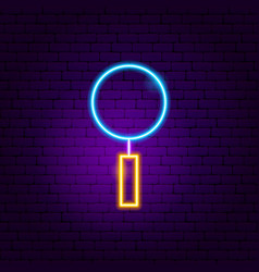 magnifying glass neon sign vector image