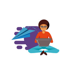 Man sitting with laptop computer and airplane vector