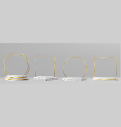 marble pedestals or podiums with golden frames vector image