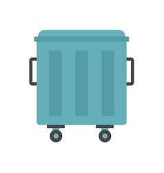 Metal trashcan icon flat style vector