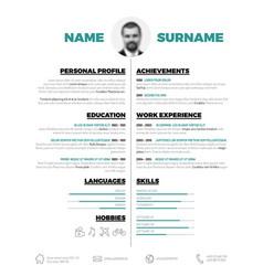 Minimalist cv resume template vector