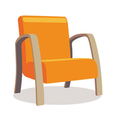 modern orange soft armchair with upholstery vector image