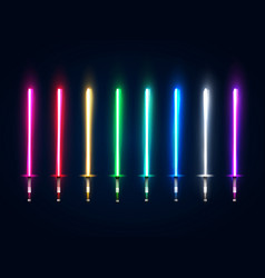 neon light swords set colorful glowing sabers vector image