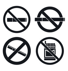no smoking pub icon set simple style vector image