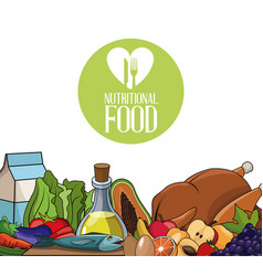 Nutritional food fresh diet products vector