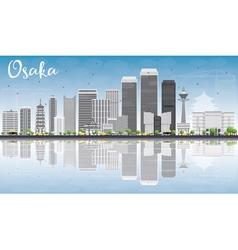 Osaka Skyline with Gray Buildings vector