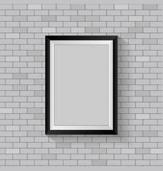picture frame on gray brick wall vector image