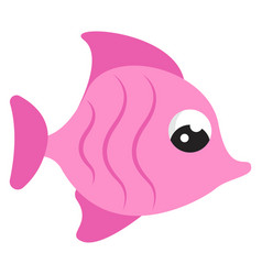 pink cute fish on white background vector image