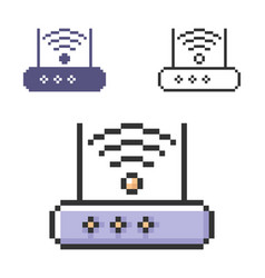 Pixel icon wireless fidelity router in three vector
