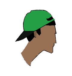 Profile man character wear cap face image vector