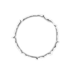 ragged round hole in white paper vector image