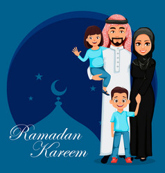 ramadan kareem greeting card with arab family vector image