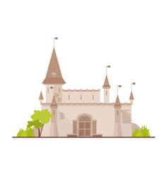 Romantic castle fortress or stronghold with vector