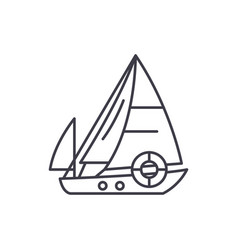 sailboat line icon concept sailboat linear vector image