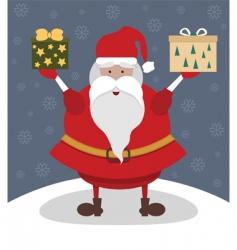 Santa with presents vector