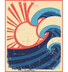 sea waves postergrunge sea landscape vector image