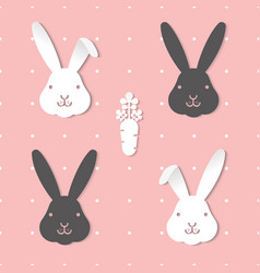 seamless pattern two tone cute blackwhite rabbit vector image