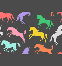 seamless pattern with colorful unicorns silhouette vector image