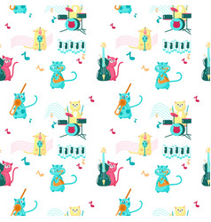 seamless pattern with cute music cats vector image