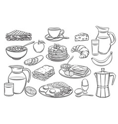 Set breakfast icons vector