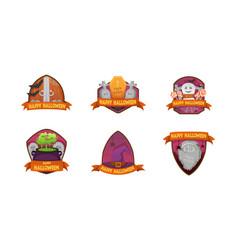 set cartoon style happy halloween labels vector image