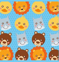 set cute face animals wildlife fauna vector image