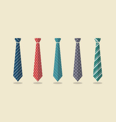 Set of different ties vector