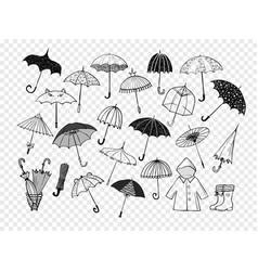 Set of doodle sketch umbrellas vector