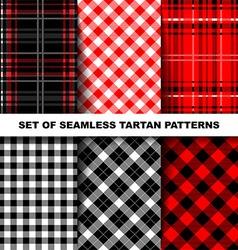 set seamless tartan patterns vector image