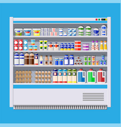 Showcase fridge for cooling dairy products vector