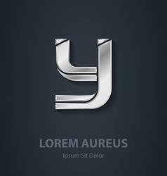 Silver logo Letter Y elegant font Template for vector image