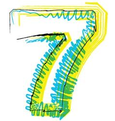 Sketch font Number 7 vector