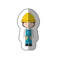 Sticker avatar worker with toolkit and black hair vector