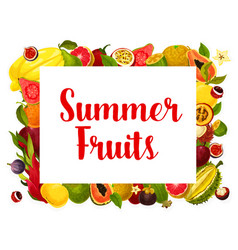 Summer fruit poster of tropical fruits vector