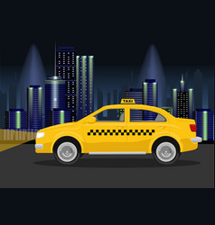 Taxi cab on backround of night city vector