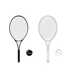 tennis racket with a ball flat hand drawing vector image