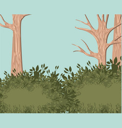 Tree forest landscape blurred colors vector