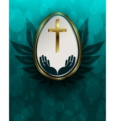 Turquoise background with Easter egg vector