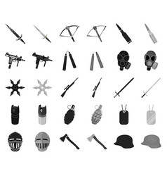 types of weapons blackmonochrome icons in set vector image