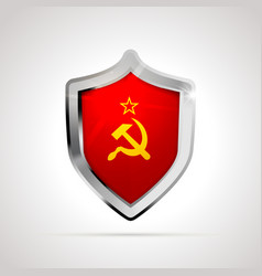 ussr flag projected as a glossy shield isolated vector image