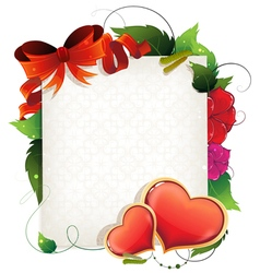 Valentine card with hearts and flowers vector image