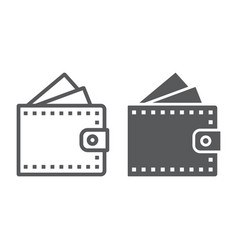 wallet line and glyph icon finance and banking vector image