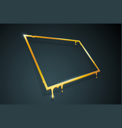 Warped distorted creative golden melting frame 3d vector