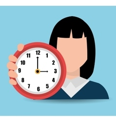woman with clock vector image