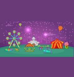 circus horizontal banner starry sky cartoon style vector image vector image