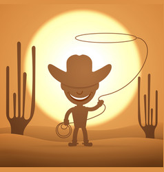 cowboy kid twirling a lasso vector image