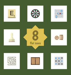 flat icon games set of lottery labyrinth mahjong vector image